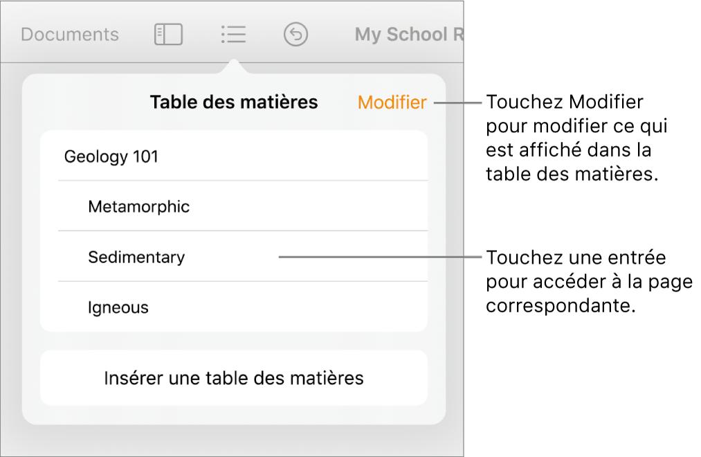 La présentation de la table des matières avec des entrées dans une liste. Le bouton Modifier se trouve dans le coin supérieur droit de la présentation.
