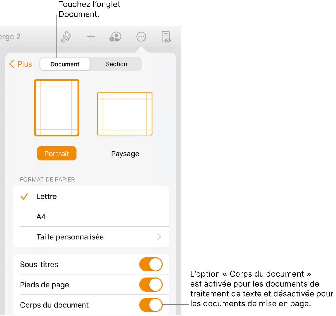 Les commandes de mise en forme de document avec l'option «Corps du document» activée vers le bas de l'écran.