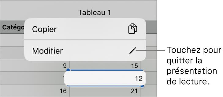 Une cellule de tableau est sélectionnée. Au-dessus de celle-ci s'affiche un menu avec les boutons Copier et Modifier.