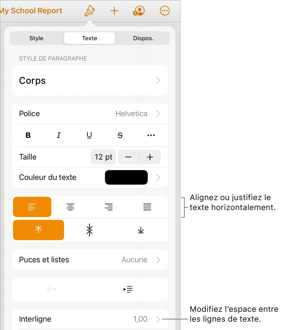 Le bouton des commandes Format avec l'onglet Texte sélectionné et des légendes vers les boutons d'alignement du texte et l'élément de menu Interligne.