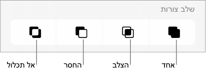 הכפתורים ״אחד״, ״הצלב״, ״החסר״ ו״אל תכלול״ מתחת ל״צורות משולבות״.