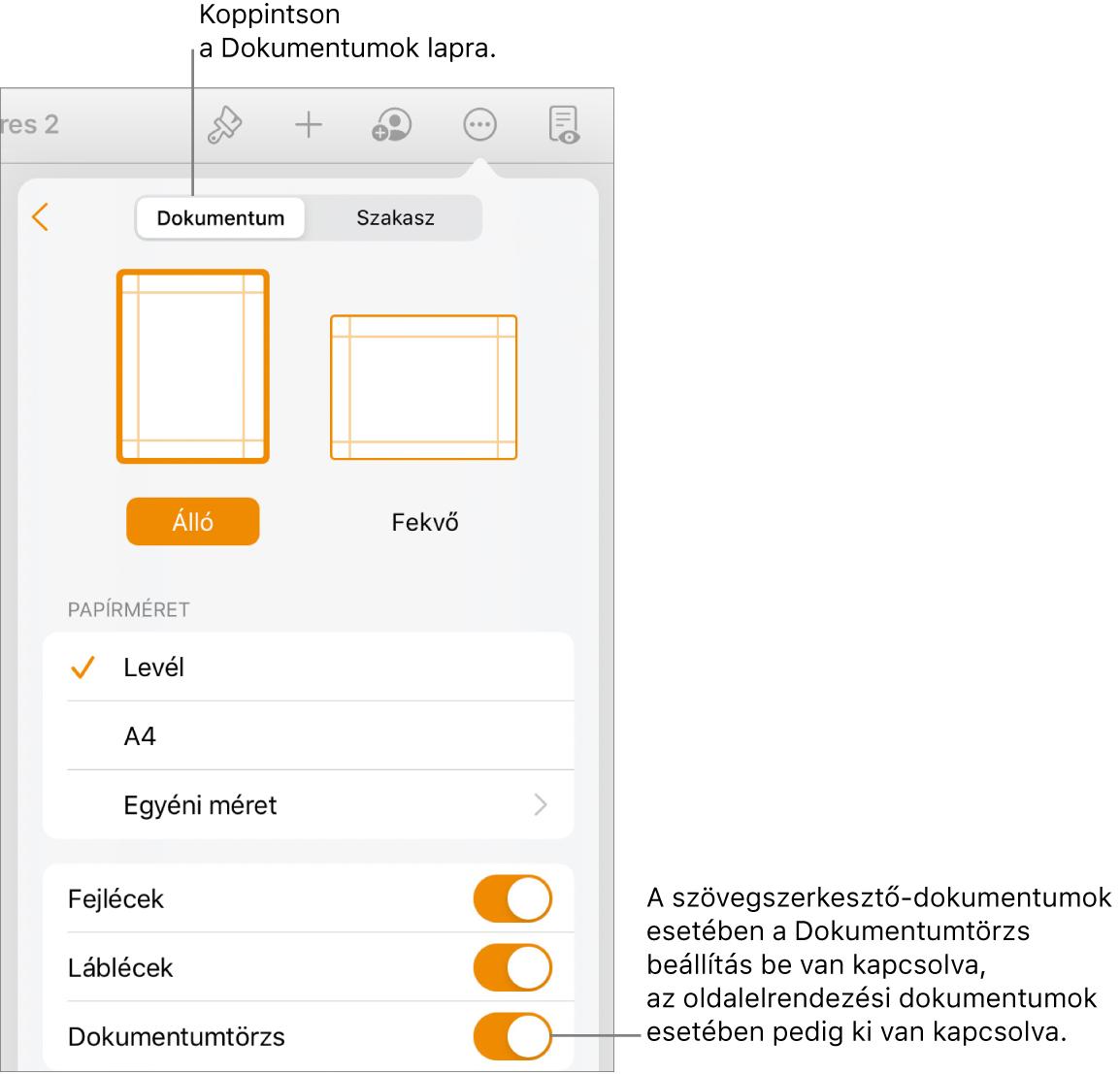 A Dokumentum formázás vezérlők a képernyő alján található bekapcsolt Dokumentumtörzs funkcióval.