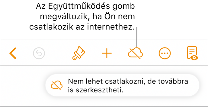 """Gombok a képernyő tetején, amelyek közül az Együttműködés gomb egy áthúzott felhőre módosul. Figyelmeztetés a képernyőn: """"Offline módban van, de folytathatja a szerkesztést""""."""