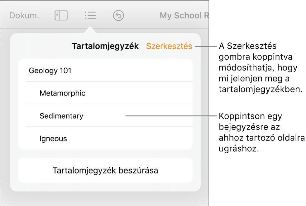 A tartalomjegyzék nézete a listába rendezett bejegyzésekkel. A Szerkesztés gomb a nézet jobb felső sarkában található.