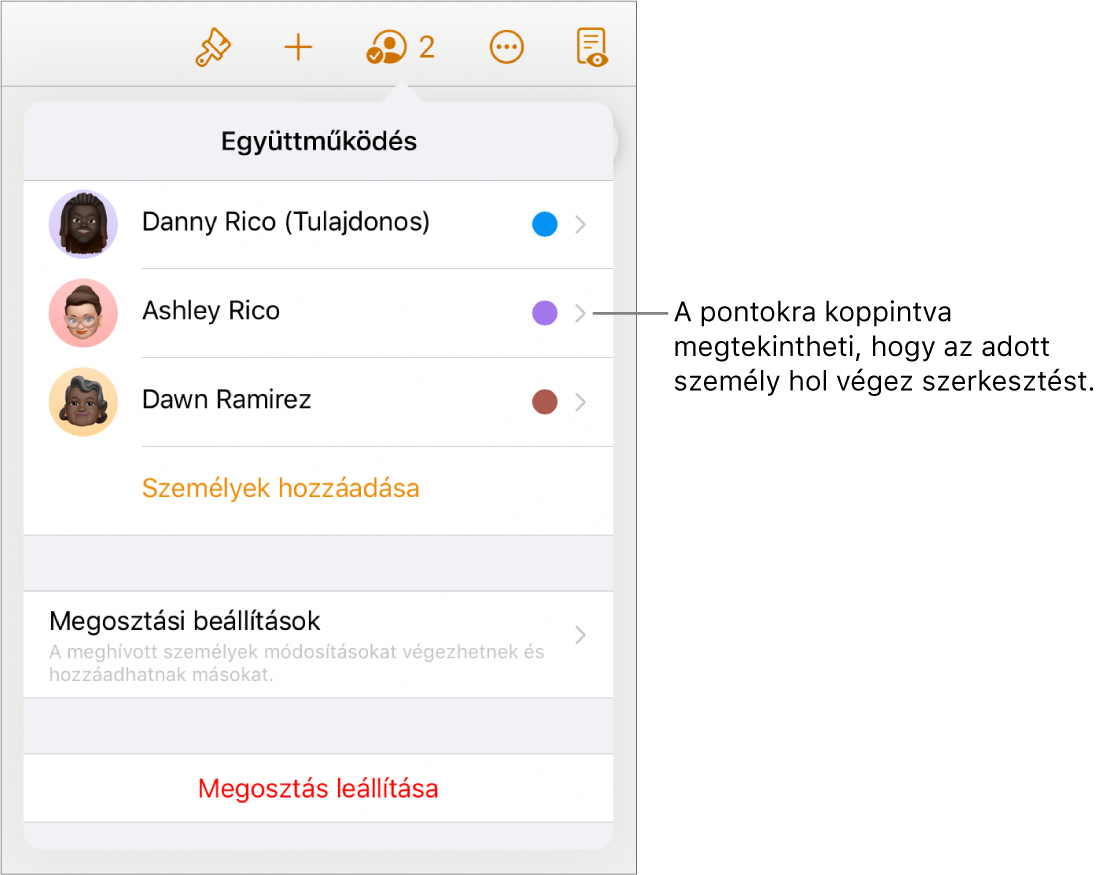 A résztvevők listája három résztvevővel és az egyes nevektől jobbra található eltérő színű ponttal.