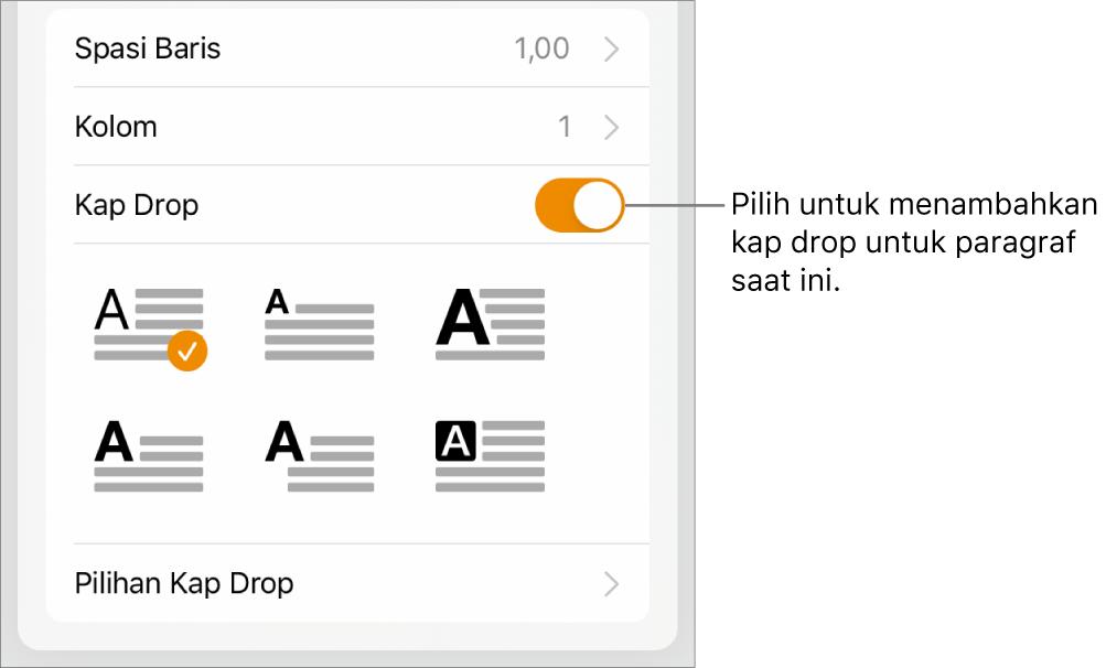 Kontrol Kap Drop terletak di bagian bawah menu Teks.