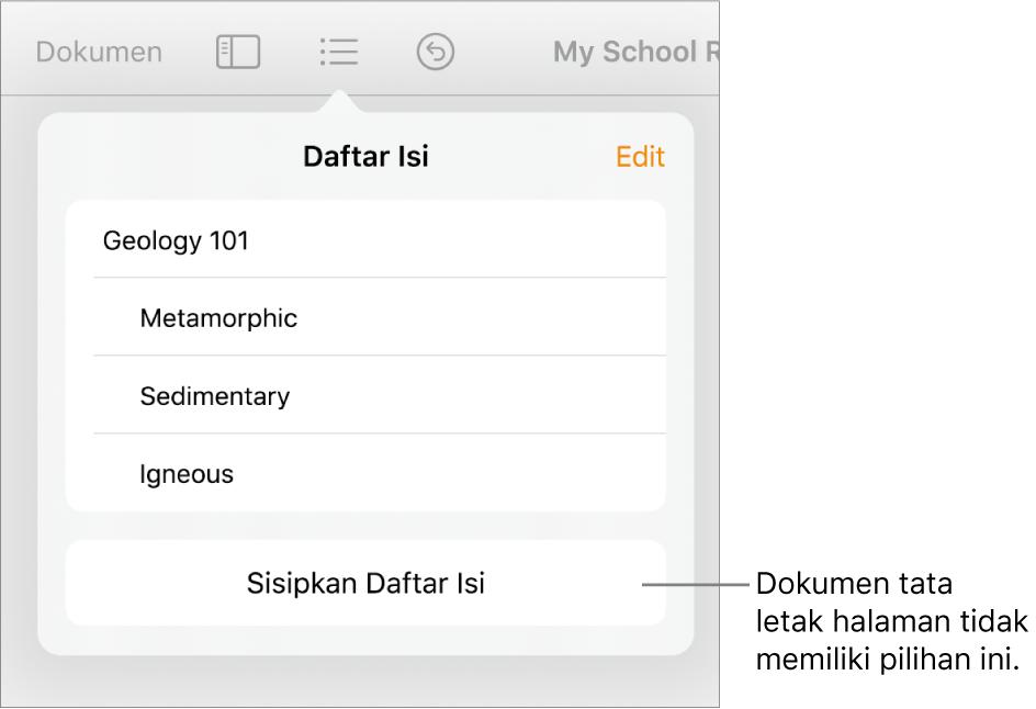 Tampilan daftar isi dengan Edit di pojok kanan atas, entri TOC, dan tombol Sisipkan Daftar Isi di bagian bawah.