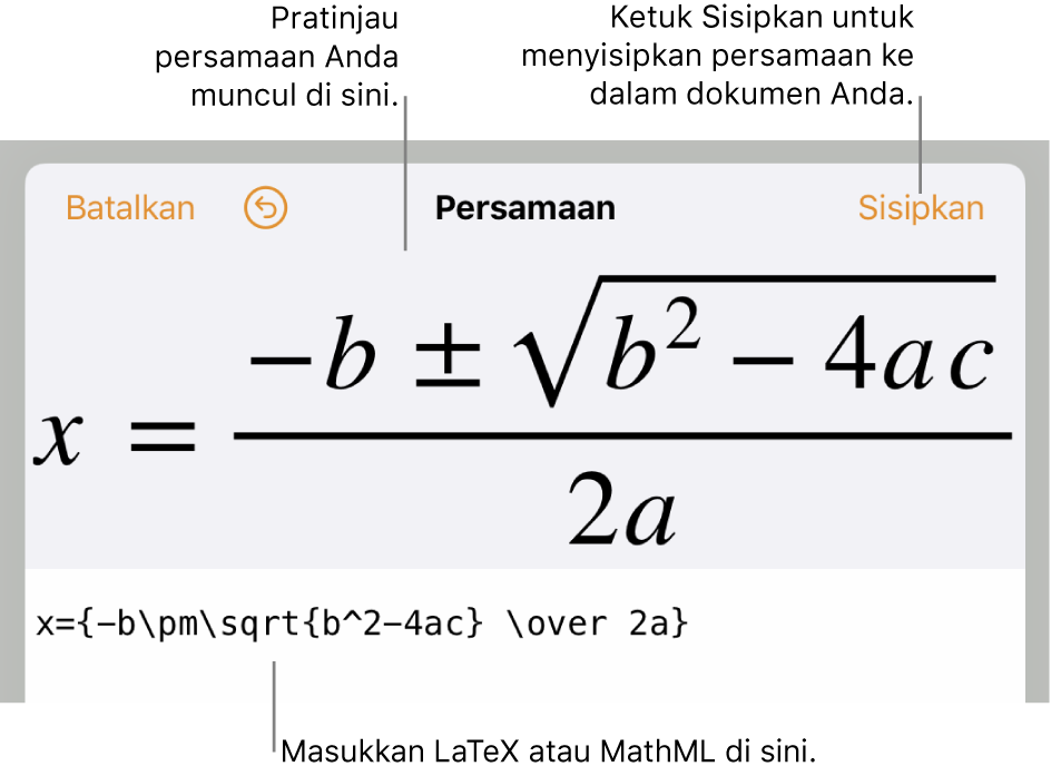 Dialog pengeditan persamaan, menampilkan formula kuadratik yang ditulis menggunakan perintah LaTeX, dan pratinjau formula di atasnya.