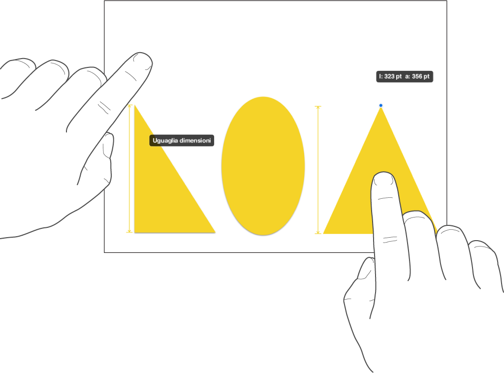 """Un dito sopra una forma e un altro che tiene un oggetto con """"Uguaglia dimensioni"""" sullo schermo."""