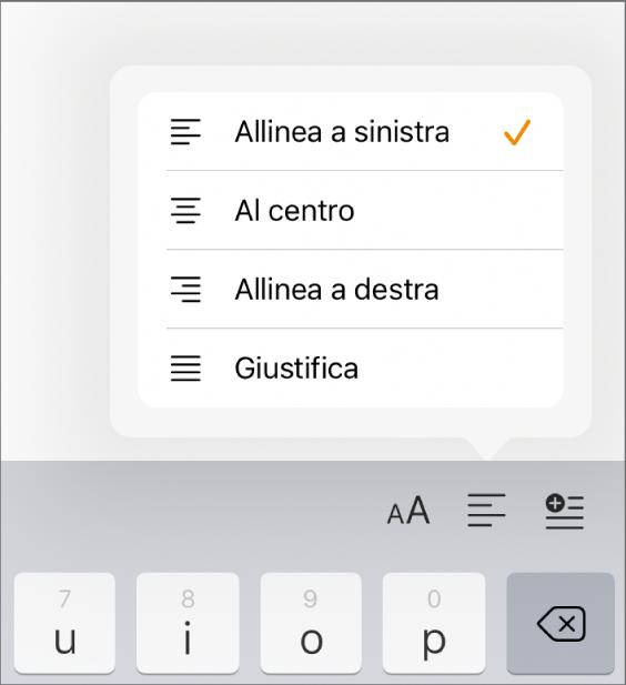 Barra Formattazione con i controlli per il rientro del testo e l'allineamento dei paragrafi.