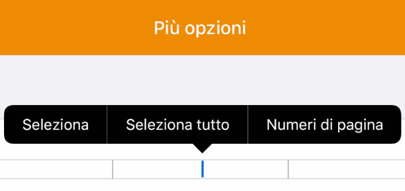 """Tre campi di intestazione con il punto di inserimento in quello centrale e un menu a comparsa che mostra """"Numeri di pagina""""."""