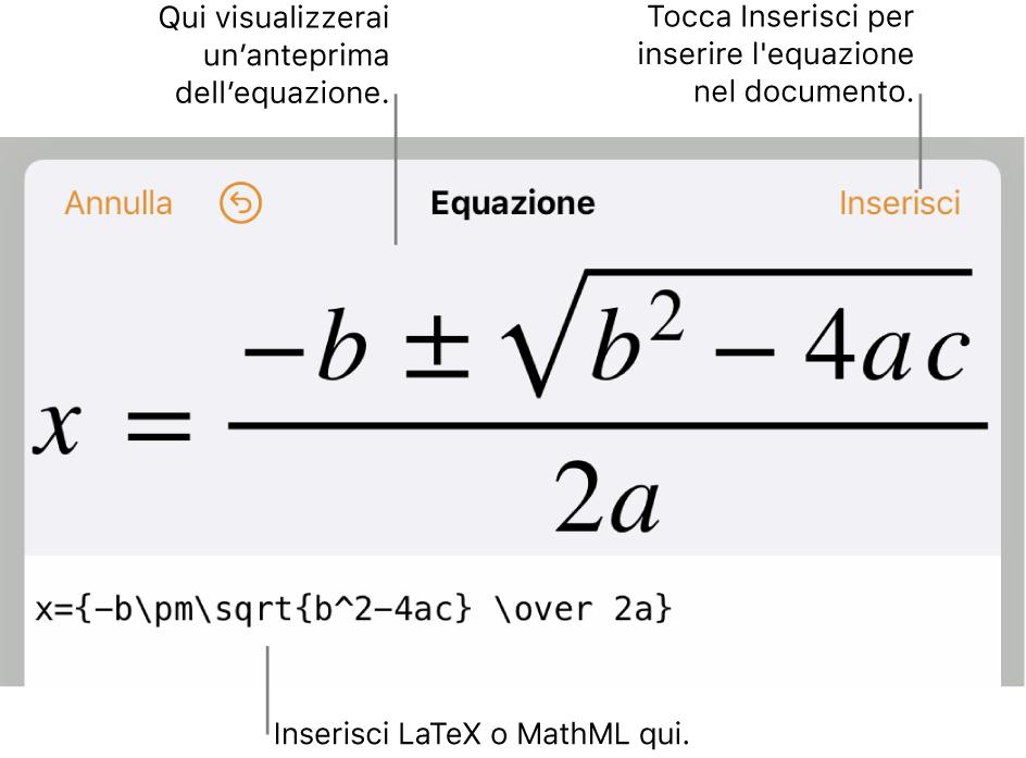 La finestra di modifica dell'equazione che mostra la formula quadratica scritta tramite comandi LaTeX e un'anteprima della formula sopra.