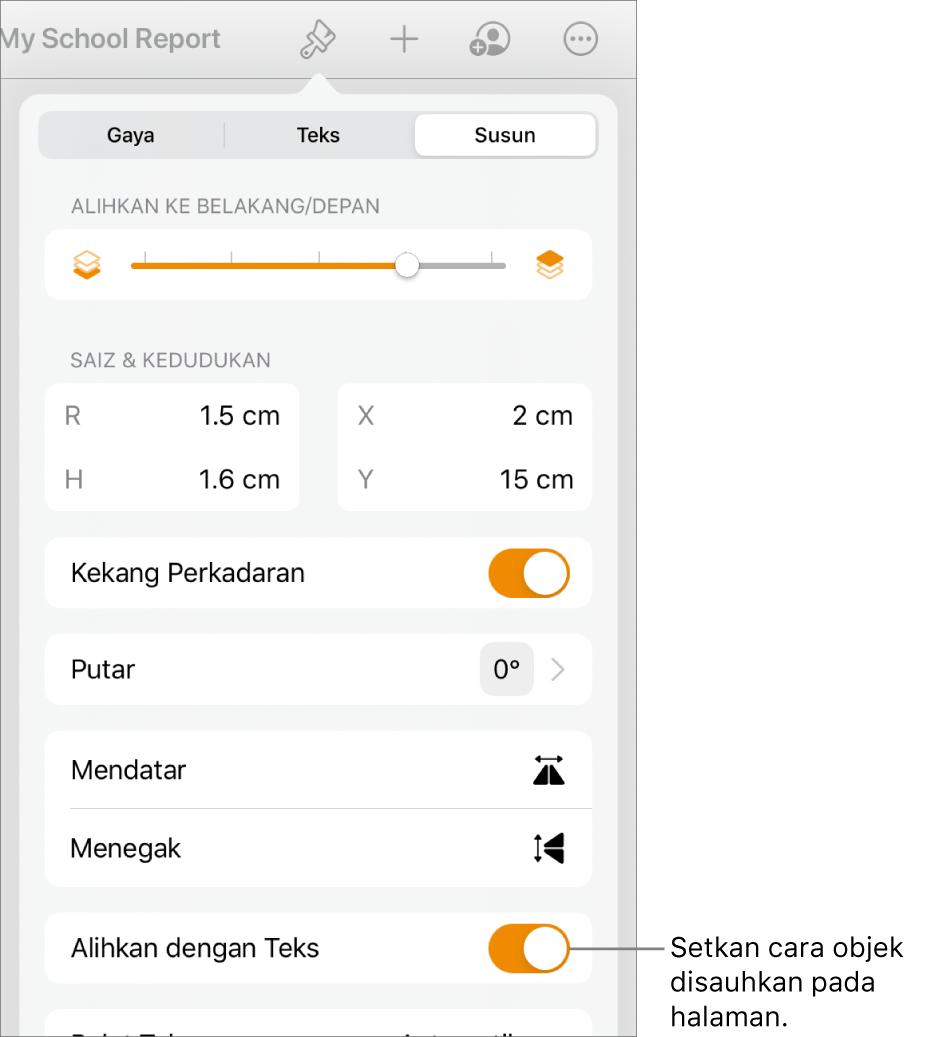 Kawalan Format dengan tab Susun dipilih dan kawalan untuk Bergerak ke Belakang/Depan, Alihkan dengan Teks dan Balutan Teks.