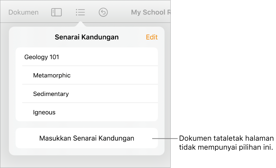 Paparan senarai kandungan dengan Edit di penjuru kanan atas, entri TOC dan butang Masukkan Senarai Kandungan di bahagian bawah.