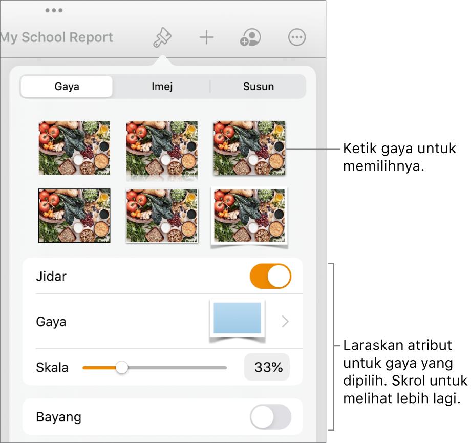 Tab Gaya menu Format dengan gaya objek di bahagian atas dan kawalan di bawahnya untuk menukar jidar, bayang, pantulan dan kelegapan.