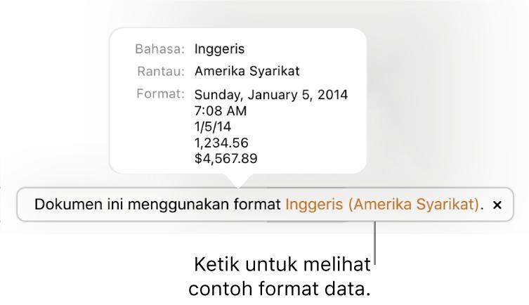 Pemberitahuan seting bahasa dan rantau berbeza, menunjukkan contoh format dalam bahasa dan rantau itu.