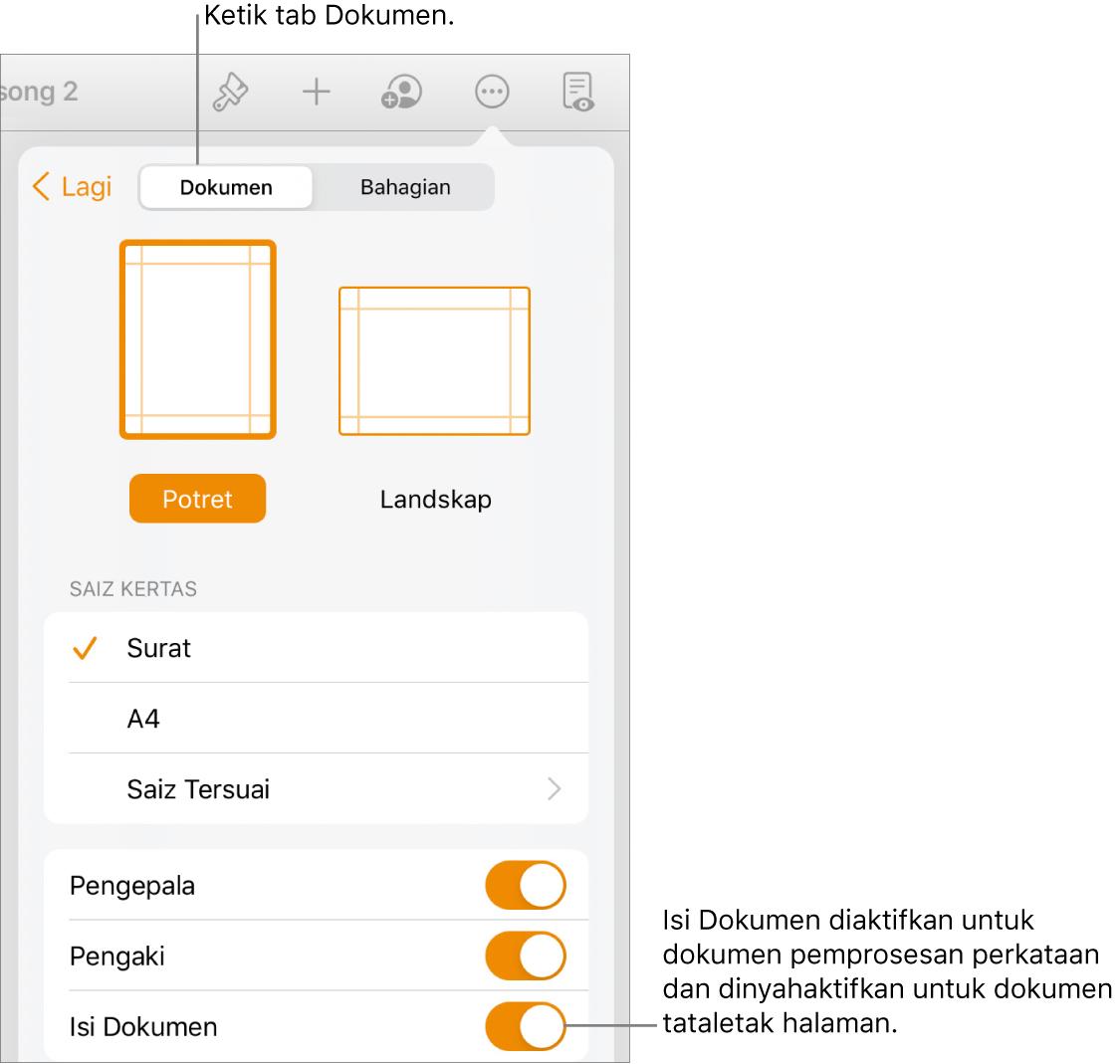 Kawalan format Dokumen dengan Isi Dokumen diaktifkan berhampiran bahagian bawah skrin.