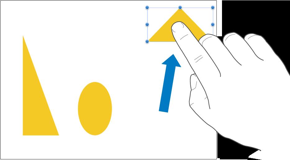 Een vinger die een object sleept.