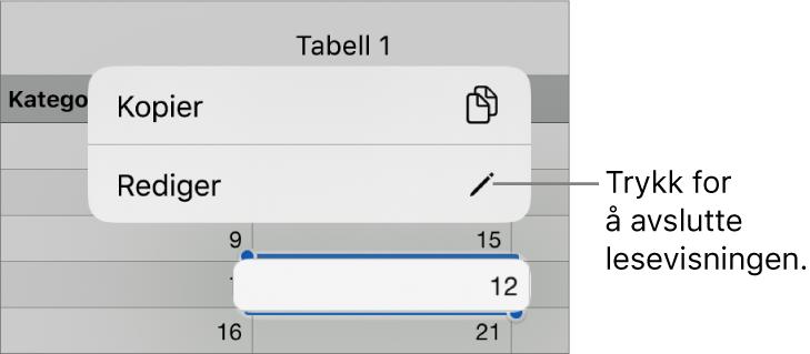 En tabellcelle er markert, og over den vises en meny med knappene Kopier og Rediger.