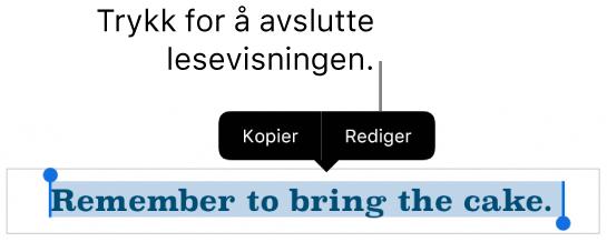 En setning er markert, og over den vises en kontekstmeny med knappene Kopier og Rediger.