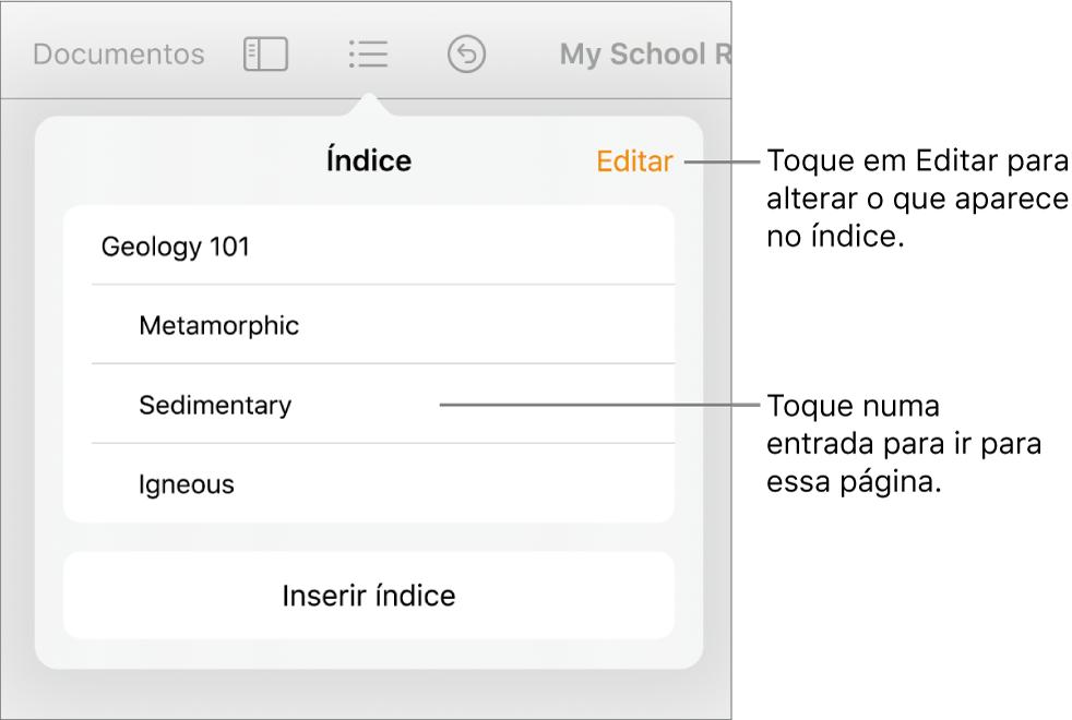 A vista de índice com entradas numa lista. O botão Editar encontra-se no canto superior direito da vista.