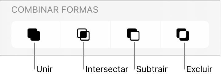 """Os botões Unir, Intersetar, Subtrair e Excluir, por baixo de """"Combinar formas""""."""