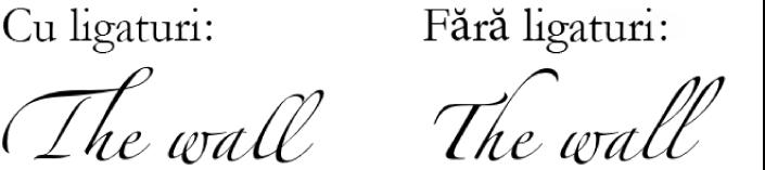 Exemple de text cu și fără ligaturi.
