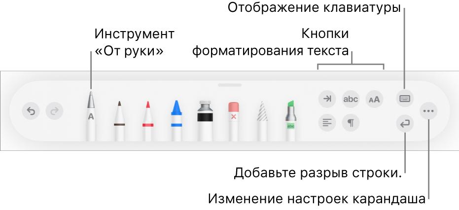 Панель инструментов письма, рисования иформатирования. Слева отображается инструмент «Отруки». Справа находятся кнопки форматирования текста, отображения клавиатуры, добавления разрыва абзаца иоткрытия меню «Еще».