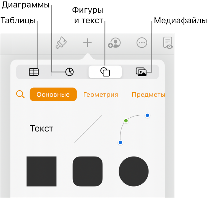 Открыты элементы управления параметра «Вставить» скнопками для добавления таблиц, диаграмм, текста, фигур имедиафайлов, расположенными сверху.