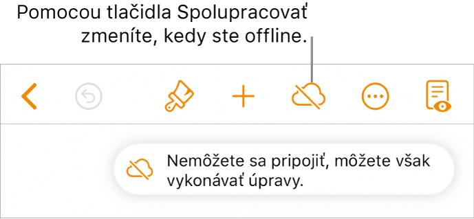 Tlačidlá vhornej časti obrazovky stlačidlom Spolupracovať, ktoré sa zmení na obláčik preškrtnutý diagonálnou čiarou. Upozornenie na obrazovke soznámením Ste offline, ale naďalej môžete upravovať.