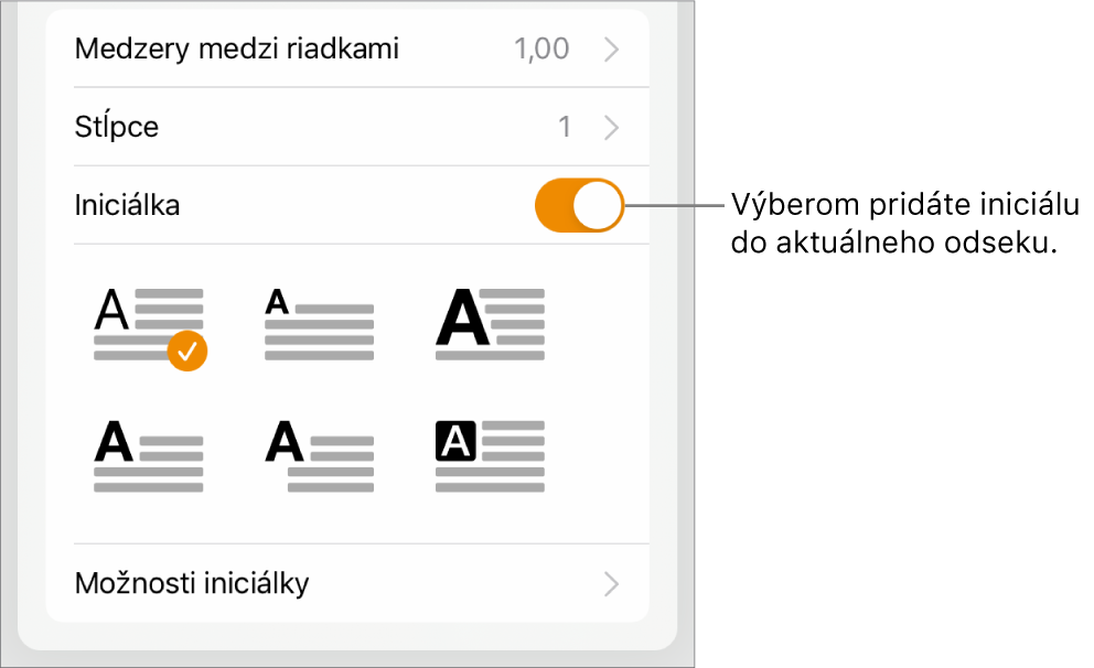 Ovládacie prvky Iniciálka vspodnej časti menu Text.