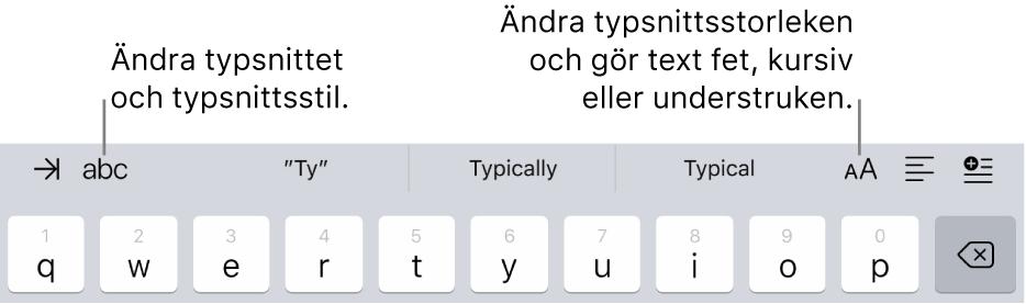 Textformateringsknapparna ovanför tangentbordet med knappar (från vänster till höger) för indrag, typsnitt, tre fält med föreslagen text, typsnittsstorlek, justering samt infogning.