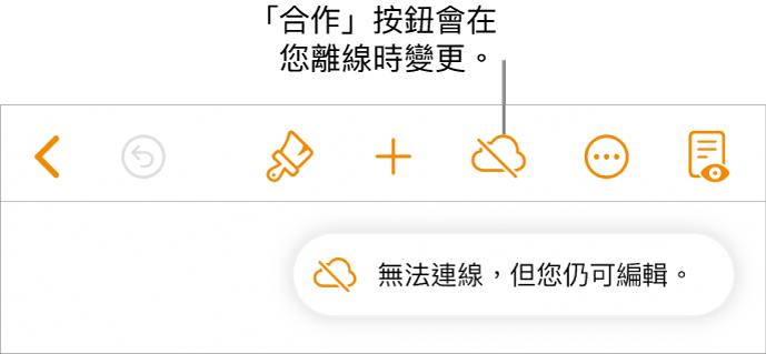 螢幕最上方的按鈕,「合作」按鈕變更為帶有對角線穿過的雲狀。螢幕上的提示顯示「您已離線,但仍可編輯」。