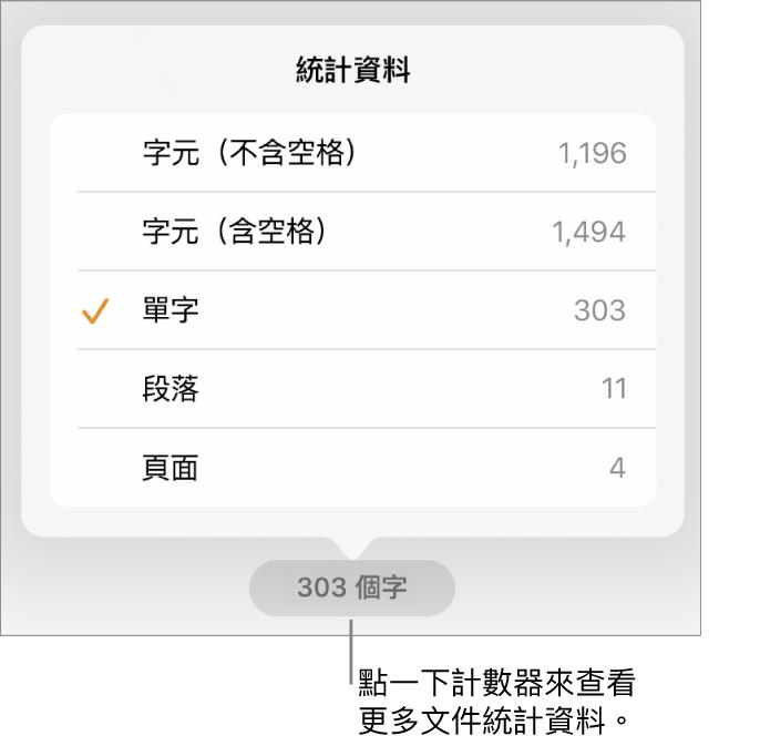 字數計數器帶有選單,包含顯示字元數(不包含及包含空格)、段落數和頁數的選項。