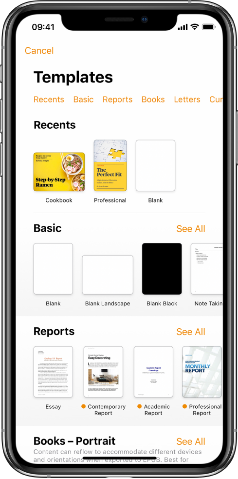 The template chooser, showing a row of categories across the top that you can tap to filter the options. Below are thumbnails of pre-designed templates arranged in rows by category, starting with New at the top and followed by Recents and Basic. A See All button appears above and to the right of each category row. The Language and Region button is in the top-right corner.