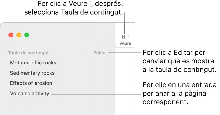 La taula de contingut del costat esquerre de la finestra del Pages amb el botó Editar a l'angle superior dret de la barra lateral i les entrades de la taula de contingut en una llista. El botó Vista a l'angle superior esquerre de la barra d'eines del Pages, damunt la barra lateral.