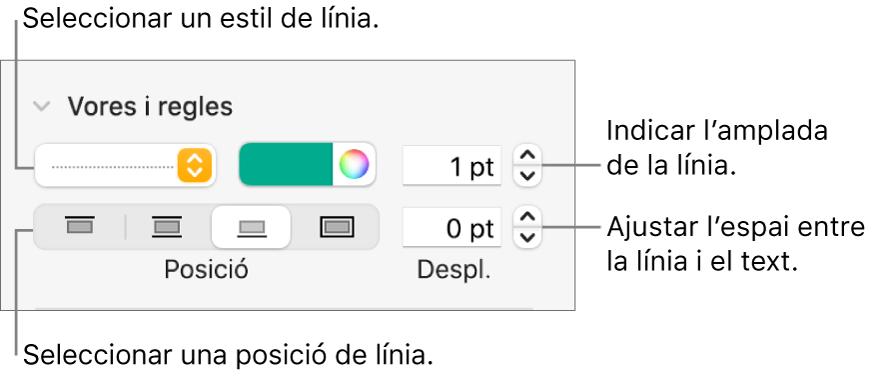 Controls per canviar l'estil, el gruix, la posició i el color de la línia.