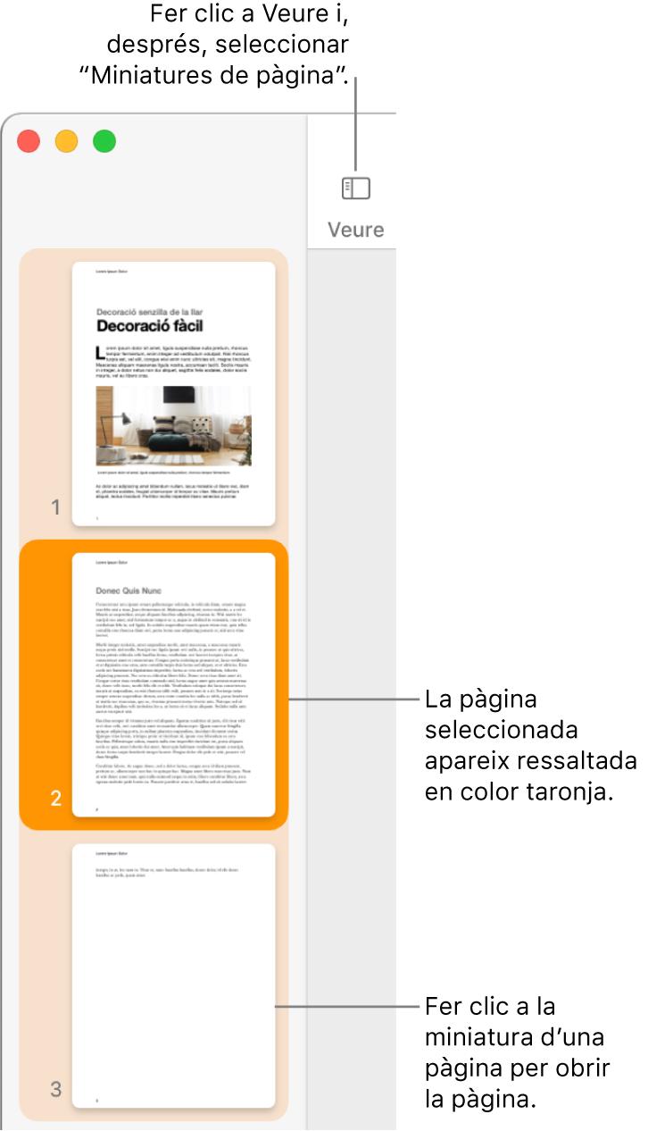 """La barra lateral a la part esquerra de la finestra del Pages amb la vista """"Miniatures de pàgina"""" oberta i una pàgina seleccionada que es mostra destacada en color taronja fosc."""