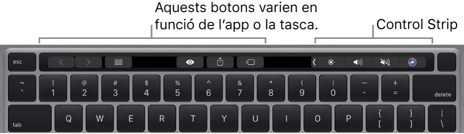 Teclat amb la Touch Bar sobre les tecles numèriques. Els botons per modificar el text són a l'esquerra i al centre. A la Control Strip de la dreta hi ha els controls del sistema de brillantor, volum i Siri.