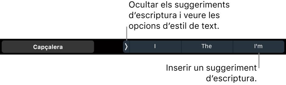 La Touch Bar del MacBook Pro amb controls per seleccionar l'estil de text, ocultar els suggeriments d'escriptura i inserir-ne.