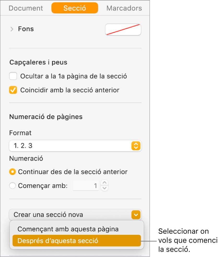 """La barra lateral Document amb la pestanya Secció seleccionada. A prop de la part inferior de la barra lateral hi ha el menú desplegable """"La secció comença a"""" i el menú """"Crear una secció nova""""."""