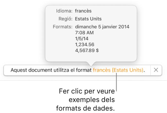 La notificació de la diferència de configuració d'idioma i regió, amb exemples del format d'aquell idioma i regió.