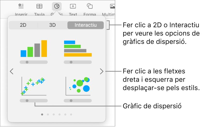 """El menú """"Afegir gràfic"""", que mostra l'opció """"Gràfic de dispersió""""."""