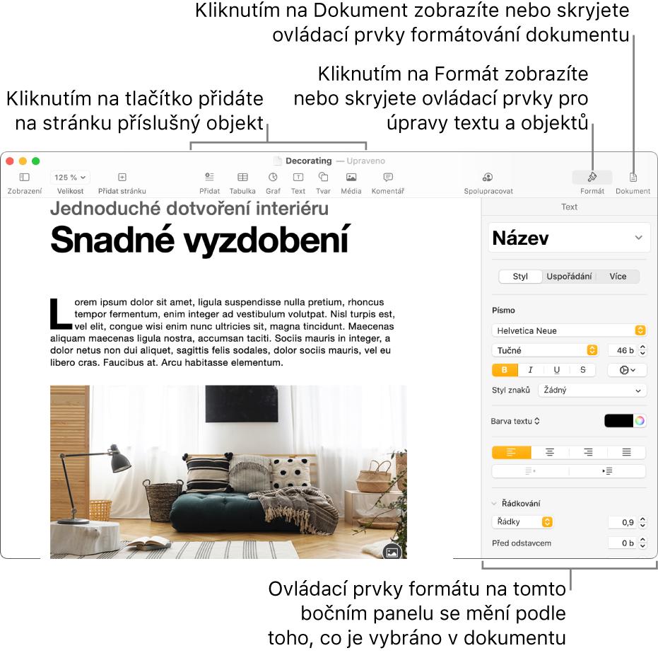 Okno Pages spanelem nástrojů stlačítky pro přidávání objektů aotvírání bočních panelů