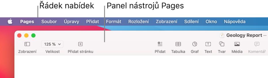 Řádek nabídek uhorního okraje obrazovky snabídkami Apple, Pages, Soubor, Upravit, Přidat, Formát, Rozložení, Zobrazení, Sdílení, Okno aNápověda. Pod řádkem nabídek je otevřený dokument Pages, vhorní části je panel nástrojů stlačítky Zobrazení, Velikost, Přidat stránku, Přidat, Tabulka, Graf, Text, Tvar, Média aKomentář.