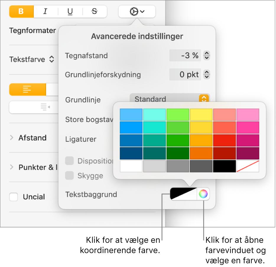 Betjeningsmuligheder til valg af en baggrundsfarve til tekst.
