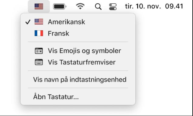 Tastaturmenuen i øverste højre hjørne af menulinjen.
