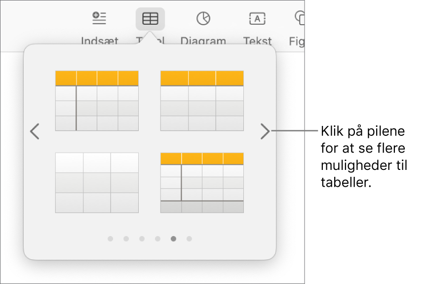 Menuen Tilføj tabel med navigationspile.