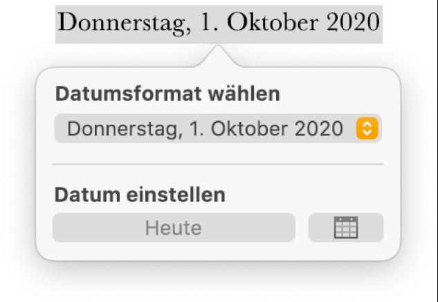 """Die Steuerelemente """"Datum & Uhrzeit"""" mit Optionen für das Datumsformat und der Taste """"Heute""""."""