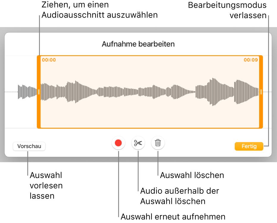 Steuerelemente für die Audiobearbeitung. Aktivpunkte geben den ausgewählten Bereich der Aufnahme an, darunter befinden sich Tasten für Hörprobe, Aufnahme, Kürzen, Löschen und Bearbeitungsmodus.